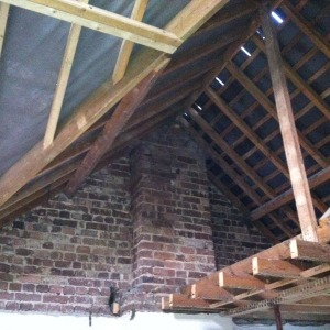 Inside the roof before new joists were installed